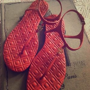 Tory Burch red leather sandals